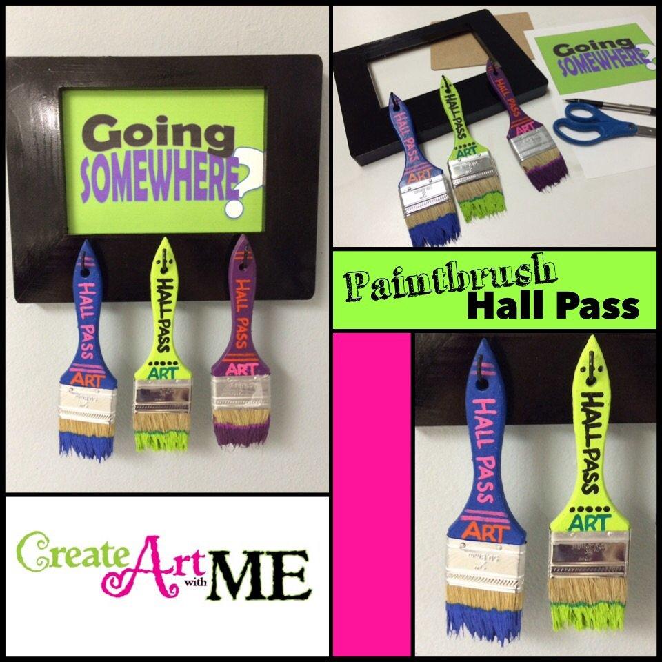DIY Paintbrush Hall Pass Sign