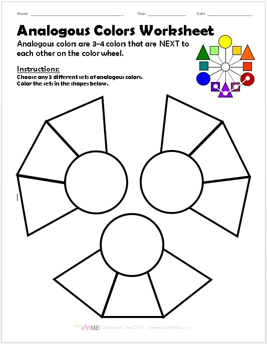 Analogous Colors Worksheet Create Art with ME – Color Theory Worksheets