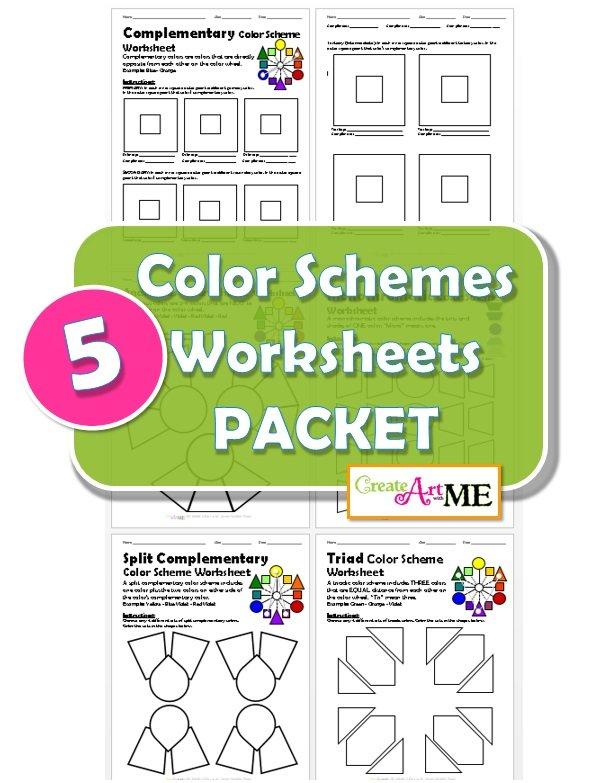 bundled color schemes worksheets packet create art with me. Black Bedroom Furniture Sets. Home Design Ideas