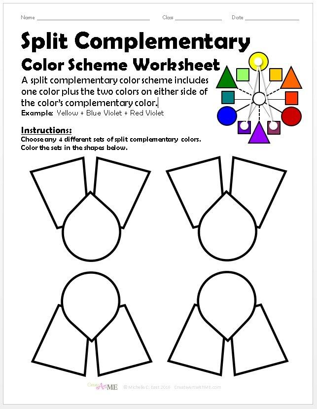 split complementary color scheme worksheet. Black Bedroom Furniture Sets. Home Design Ideas